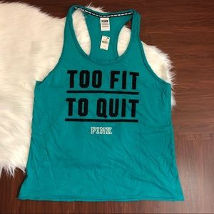 VS PINK Too Fit To Quit Tank Top RARE